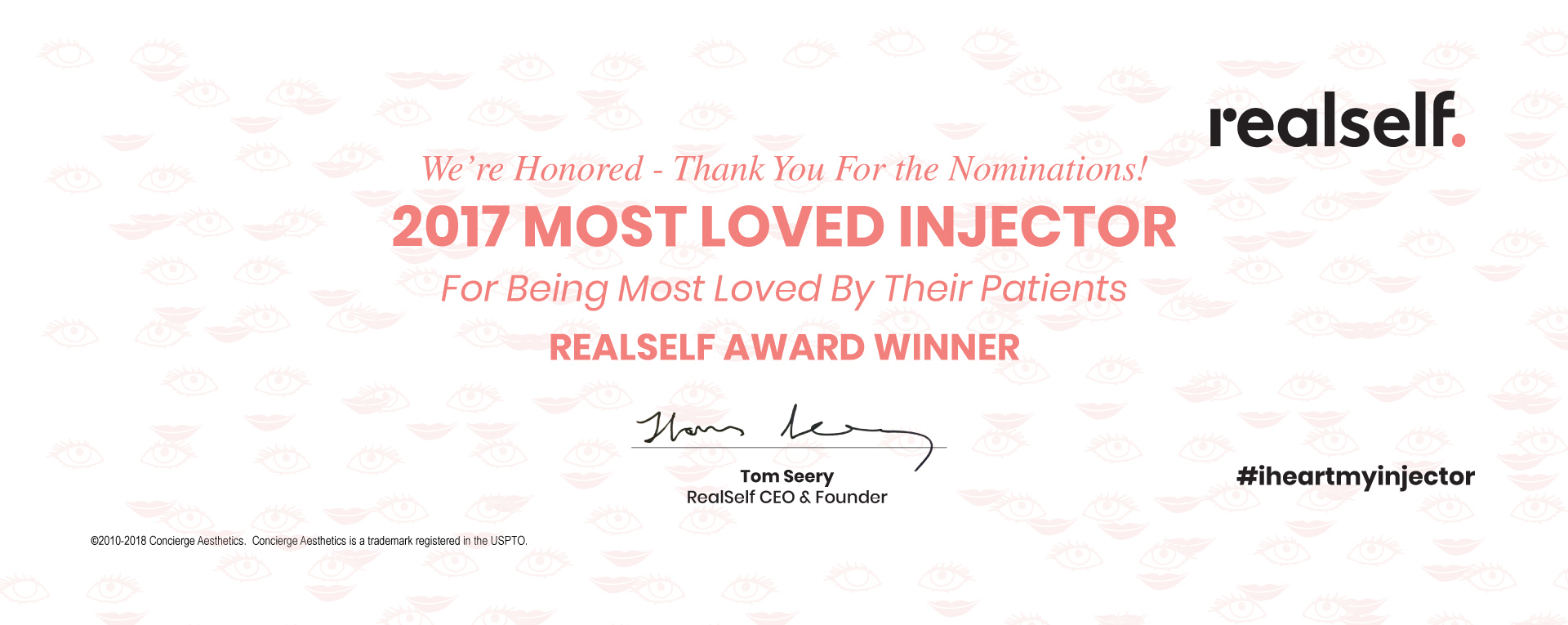 Concierge Aesthetics - RealSelf Most Loved Injector Award Winner